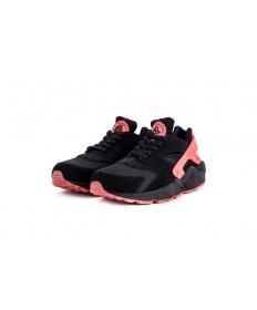 Nike Air Huarache Triple-schwarz rosa sneakers für Herren