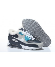 Nike Air Max 90-Pelz-Trainer cyan-blau-weiss