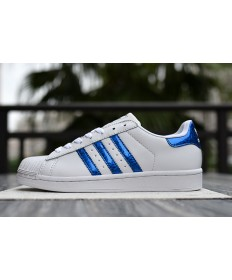 Adidas Superstar 80s schuhe weiß royalblau