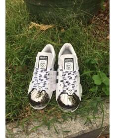 Adidas Superstar 80er Metal Toe Trainer schuhe weiß / schwarz