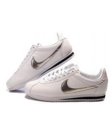 Nike Classic Cortez Leder 09 Herren-Weiß-Silber-Schwarz-Trainer-schuhe