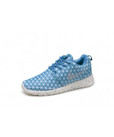 Nike Roshe Run Triangles Deep Sky Blau / Weiß für schuhe der damen-Trainer