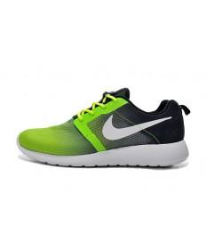 Nike Roshe Run Trainer sneakers Schwarz und leuchtend grün Gradienten
