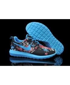 Nike Roshe Run Dodger blau / schwarz / Blumen muster der damen-Trainer