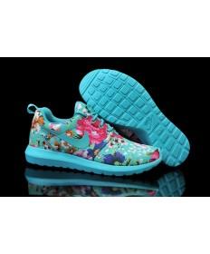 Nike Roshe Run dunkelTurquoise / Blumen muster der damen schuhe