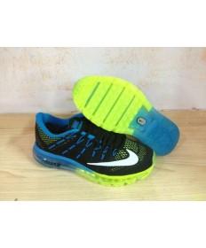 Nike Air Max 2016 schuhe Schwarz / Dodger blau / weiß / grün fluoreszierend für Herren