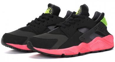 Nike Air Huarache Triple-schwarz, grün und rosa Trainersneakers für Herren