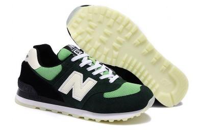 574 New Balance Grün, Oliv + Weiß + schwarz Trainersneakers für damen