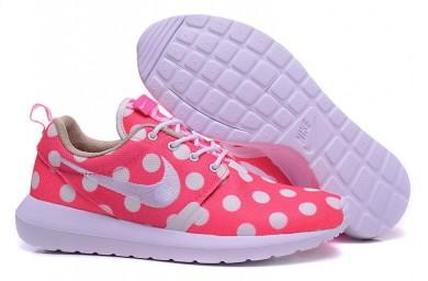 Nike Roshe Run Rosa / Weiß Punkte / Weiß für damen Trainer