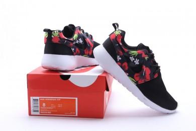 Nike Roshe Run Schwarz / Rot Blumen druck schuhe