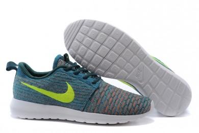 Nike Flyknit Roshe Run Schieferblau / Fluorescent gelb / orange herren sneakers