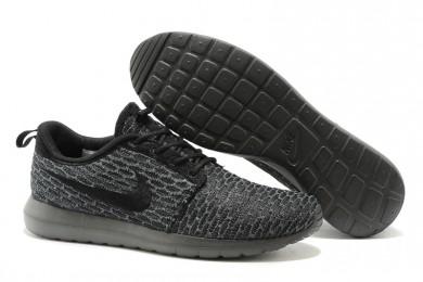 Nike Flyknit Roshe Run herren All schwarz / Dim grau sneakers Trainer