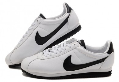 Nike Classic Cortez Leder 09 Herren-Weiß Schwarz-Trainer-schuhe