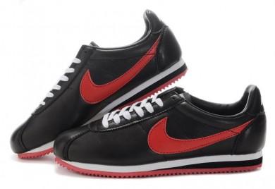 Nike Classic Cortez Leder 09 sneakers Schwarz Rot für damen