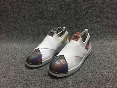Adidas Superstar SLIP AUF weiß / Regenbogen schuhe Farbe Trainer