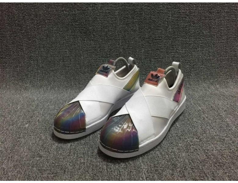 Adidas Superstar SLIP auf weiß Regenbogenfarben Trainer